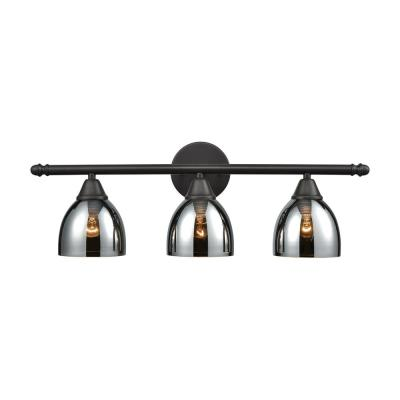 Reflections 3-Light Oil Rubbed Bronze with Chrome Plated Glass Bath Light