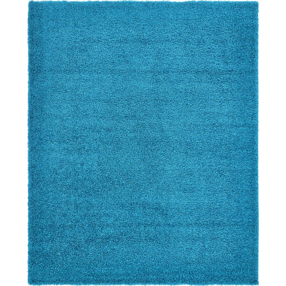 Unique Loom Solid Shag Turquoise 8 ft. x 10 ft. Area Rug