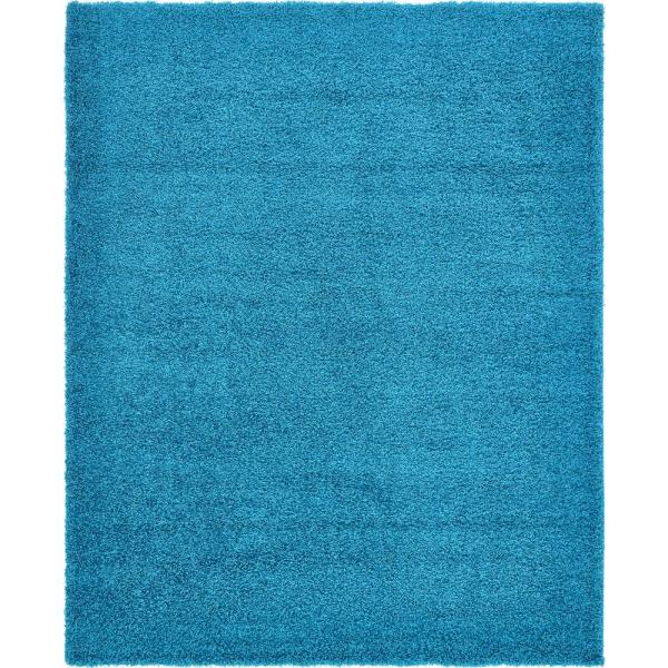 Solid Shag Turquoise 8 ft. x 10 ft. Area Rug