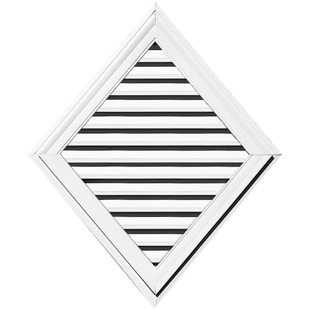 Builders Edge 35 in. x 42 in. Diamond Gable Vent #001 White