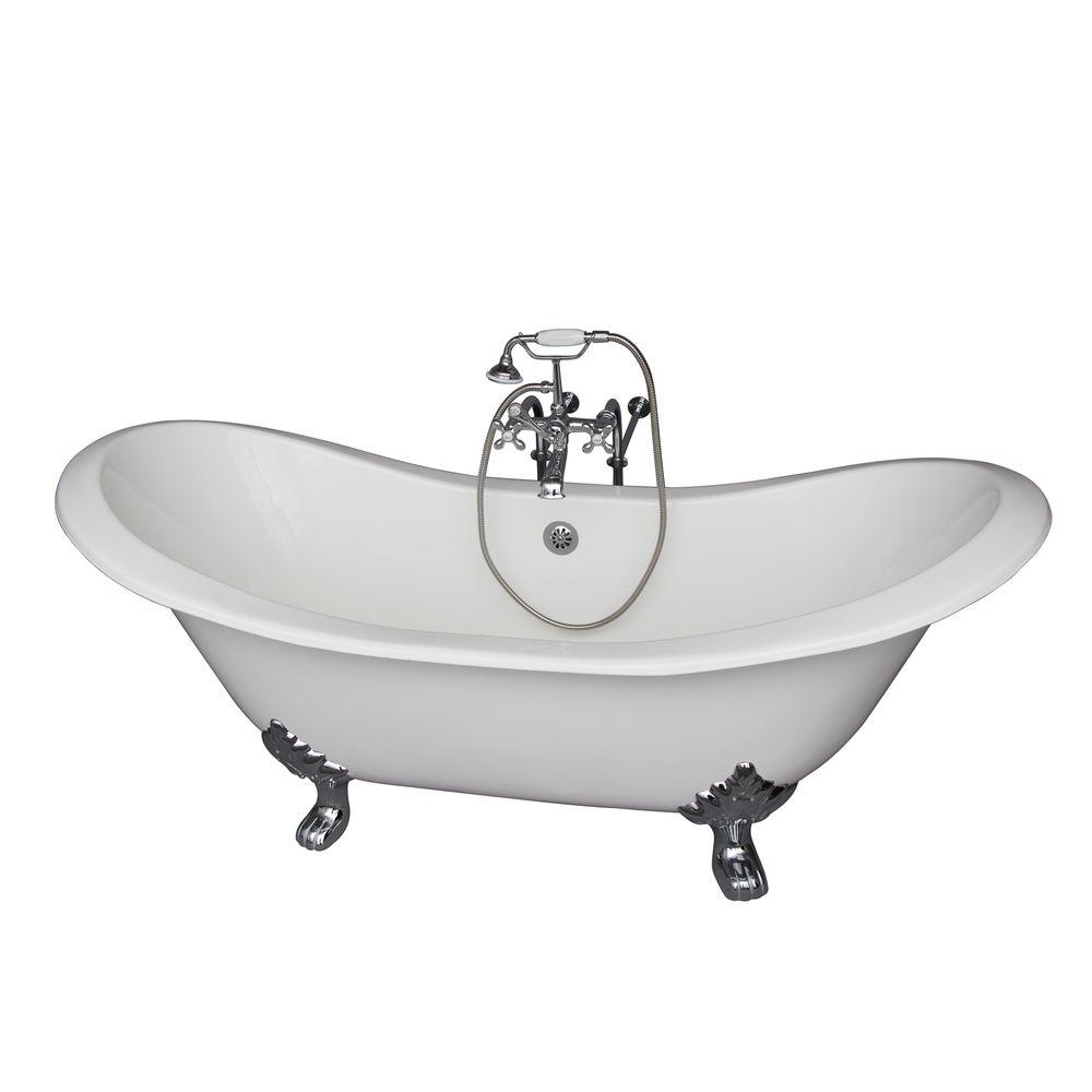Barclay Products 5.9 ft. Cast Iron Lion Paw Feet Double Slipper Tub in White with Polished Chrome Accessories