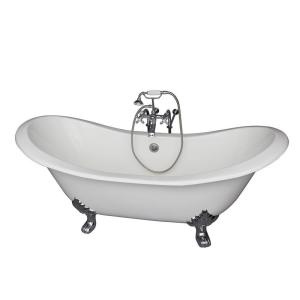 Barclay Products 5.9 ft. Cast Iron Lion Paw Feet Double Slipper Tub in White with Polished Chrome Accessories by Barclay Products