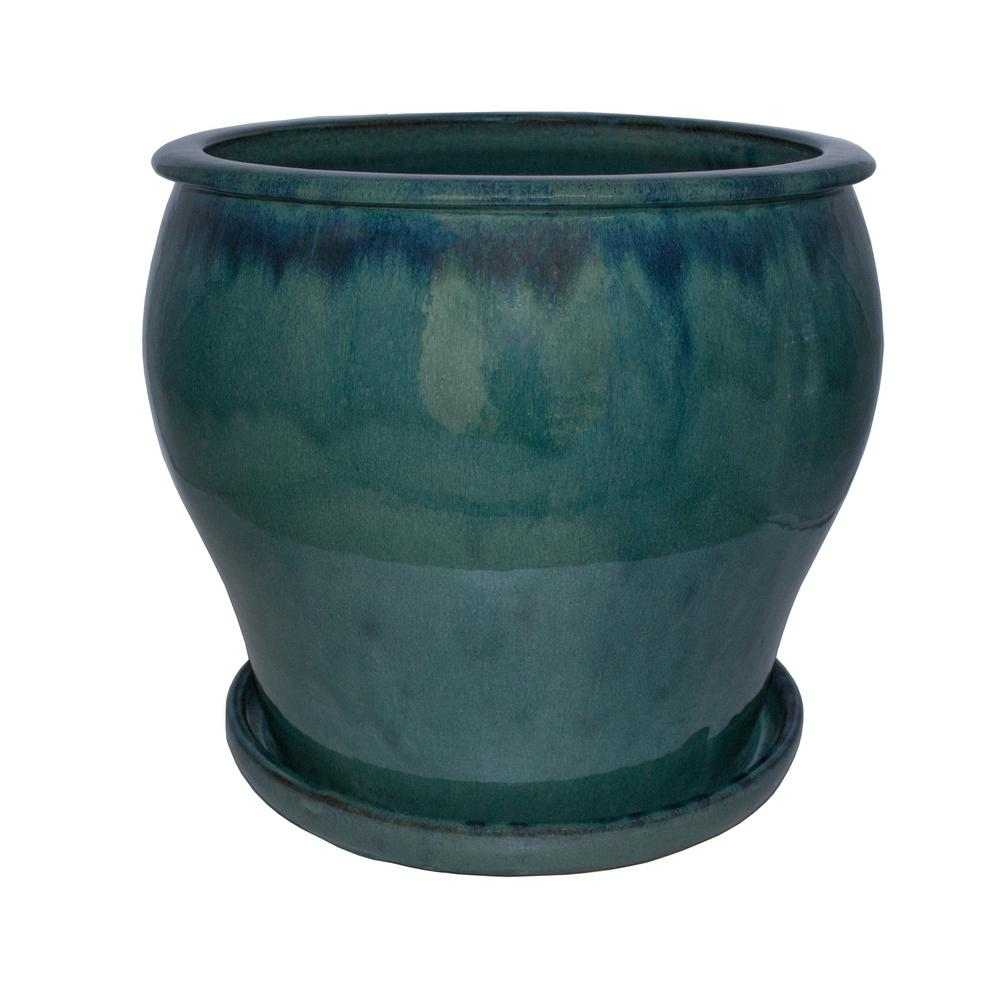 Trendspot 16 in. Dia Blue Solid Studio Ceramic Planter