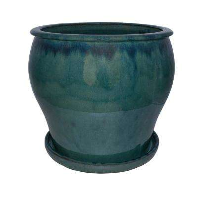 16 in. Dia Ceramic DMG Solid Blue Studio Planter