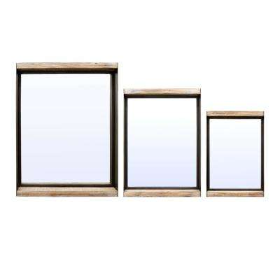 24 in. Metal/Wood Shadow Boxes in Brown (Set of 3)