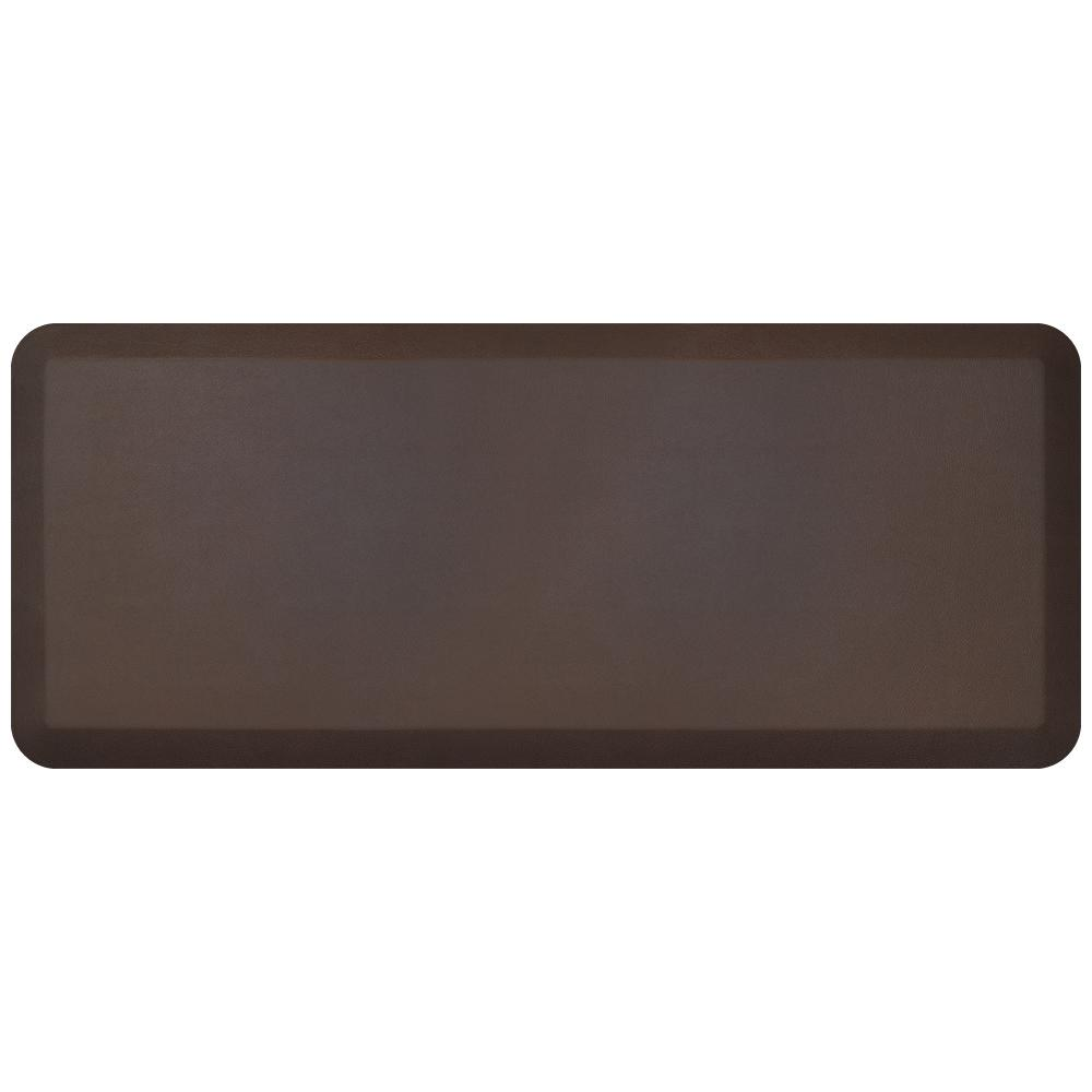NewLife Designer Leather Grain Truffle 20 in. x 48 in. Anti-Fatigue Comfort Kitchen Mat