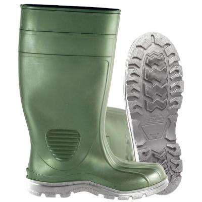 Men's Size 13 Green Comfort Tuff Industrial Steel Toe PVC Boot