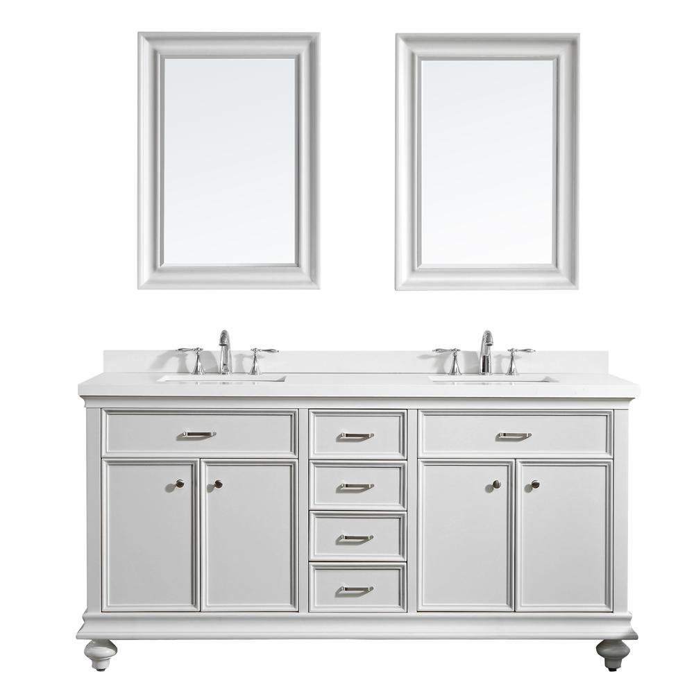 Charlotte 72 in. W x 22 in. D x 36 in. H Vanity in White with Quartz Vanity Top in White with White Basin and Mirror