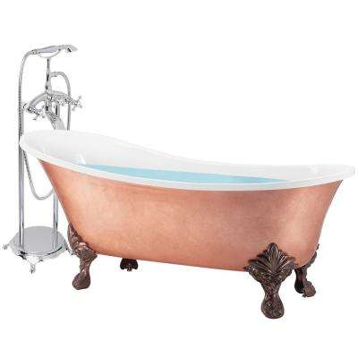 69 in. Glossy Copper Foil Fiberglass Non-Whirlpool Bathtub with Tub Filler Combo - Modern Clawfoot Freestanding Tub