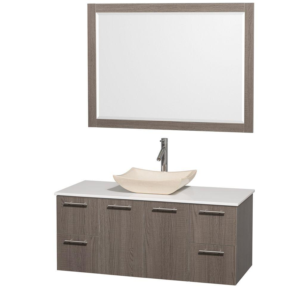 Amare 48 in. Vanity in Grey Oak with Man-Made Stone Vanity