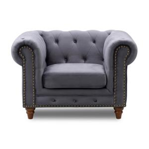 Surprising Todays Mentality Kinsley Dark Gray Velvet Sofa Chair Alphanode Cool Chair Designs And Ideas Alphanodeonline