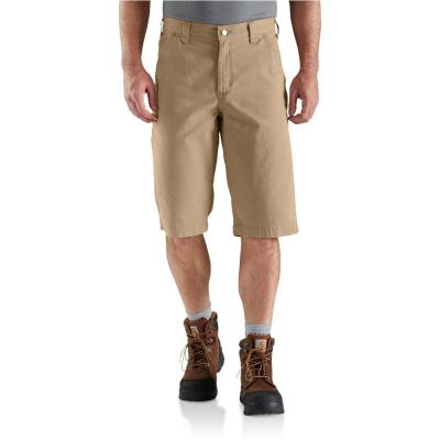 Men's 34 in.  Dark Khaki Cotton/Spandex Rugged Flex 13 in. Rigby Short
