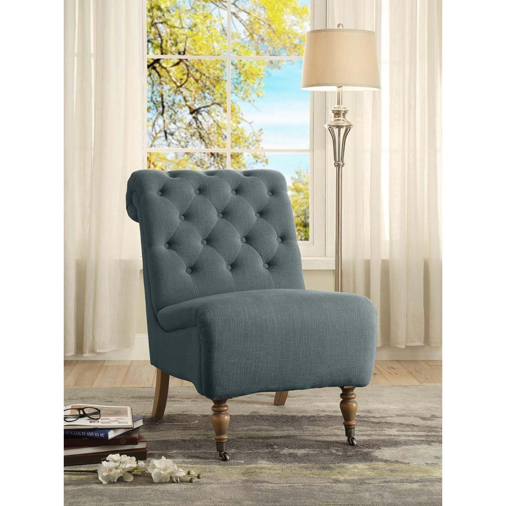 Linon Home Decor Cora Washed Blue Linen Roll Back Side Chair