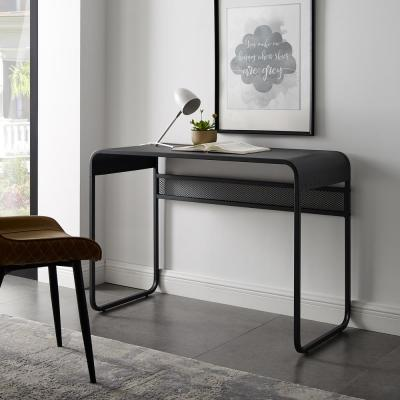42 in. Gunmetal Grey Metal Desk with Curved Top