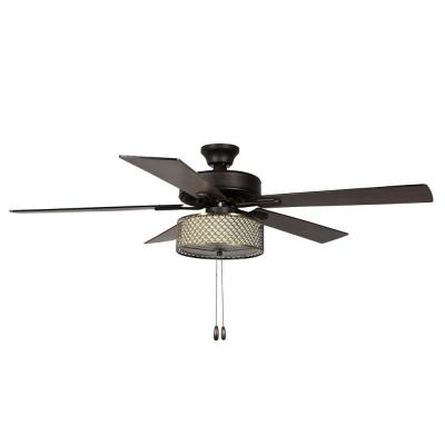 Charlotte 52 in. LED Indoor Bronze Ceiling Fan with Light