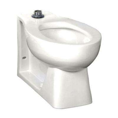 Huron 1.28 to 1.6 GPF Elongated Toilet Bowl Only with Seat Post Hole in White and EverClean Top Spud Flushometer
