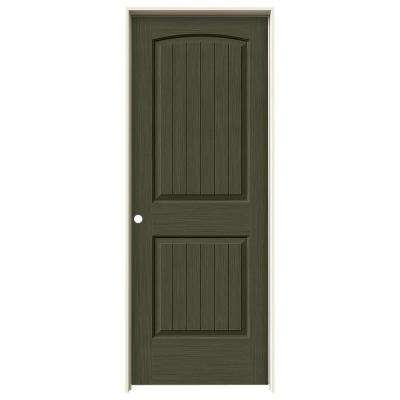 32 in. x 80 in. Santa Fe Juniper Stain Right-Hand Solid Core Molded Composite MDF Single Prehung Interior Door