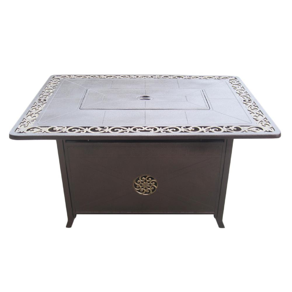 Hiland 35 in. x 24 in. Rectangle Cast Aluminum Propane Fire Pit in Hammered Bronze with Scroll Design