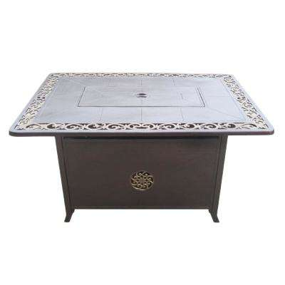 35 in. x 24 in. Rectangle Cast Aluminum Propane Fire Pit in Hammered Bronze with Scroll Design