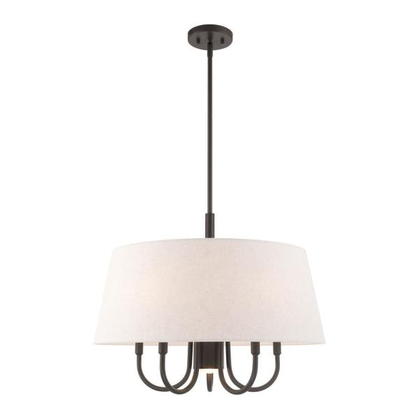 Belclaire 6-Light English Bronze Pendant Chandelier with Oatmeal Hardback Shade