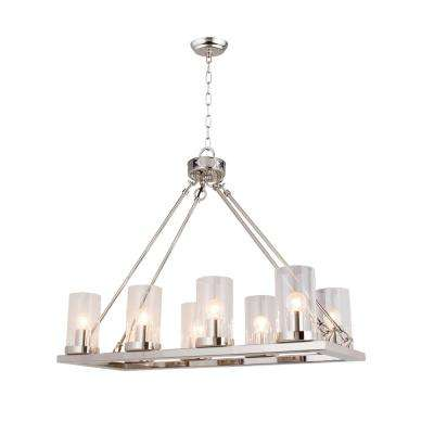 8-Light Nickel Candle Style Chandelier with Clear Glass shade
