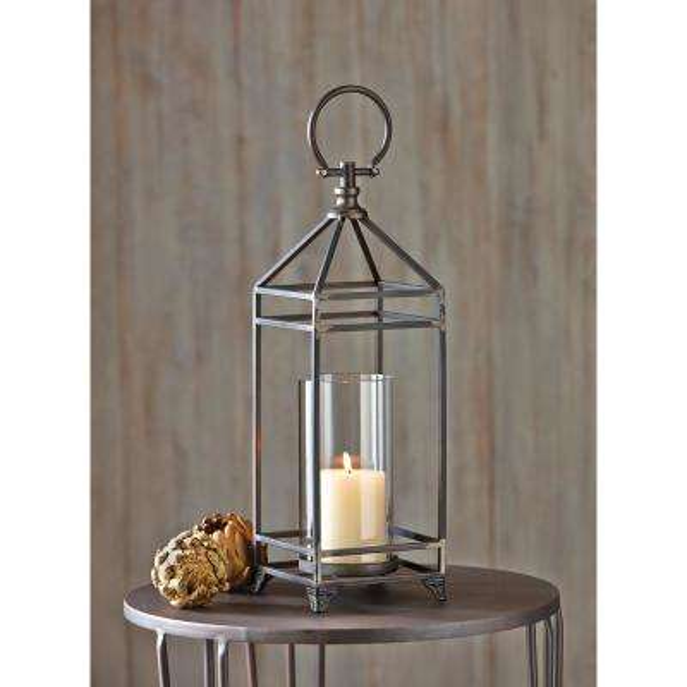 Bradbury Antique Bronze Iron and Glass Candle Lantern