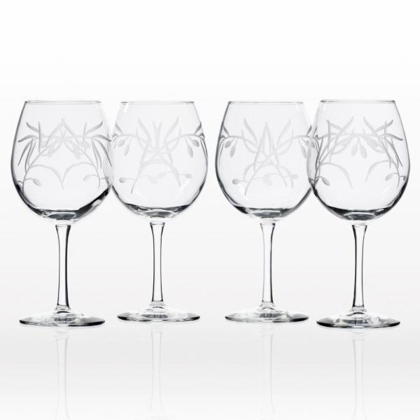 Rolf Glass Olive Branch Clear 18 oz. Balloon Wine Glass (Set of 4)