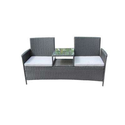 Black 1-Piece Wicker Patio Sofa with White Cushions
