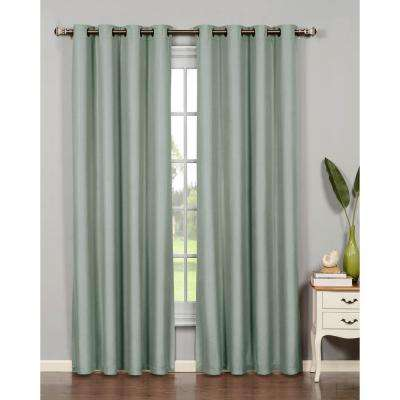Semi-Opaque Emma Microfiber Extra Wide 95 in. L Room Darkening Grommet Curtain Panel Pair, Lake Blue (Set of 2)