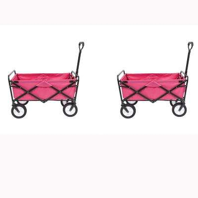 Collapsible Folding Outdoor Garden Utility Wagon Cart, Pink (2-Pack)