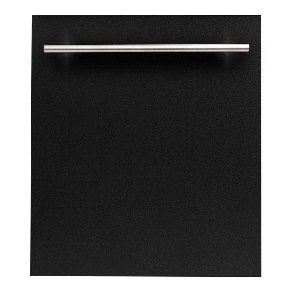 ZLINE Kitchen and Bath 24 in. Top Control Dishwasher in Black Matte with Stainless Steel Tub and Modern Style Handle