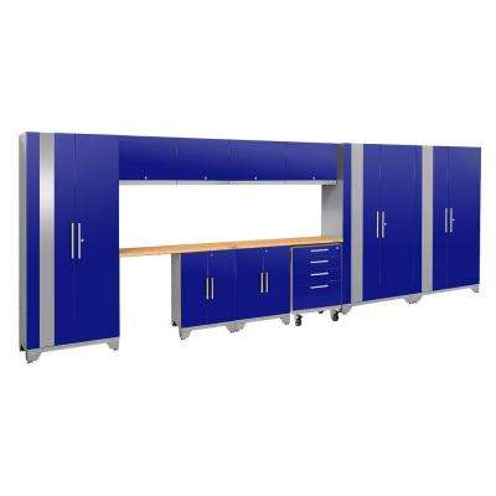 Performance 2.0 186 in. W x 75.25 in. H x 18 in. D 24-Gauge Welded Steel Bamboo Worktop Cabinet Set in Blue (12-Piece)