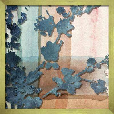 """16 in. x 16 in. """"Abstract Watercolor W. Printed Peony Silhouette"""" Shadowbox Wall Art"""