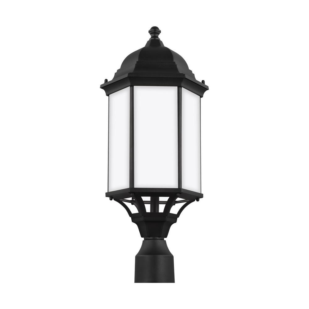 Sea Gull Lighting Sevier 1 Light Black Outdoor Post Lantern 8238751en3 12 The Home Depot