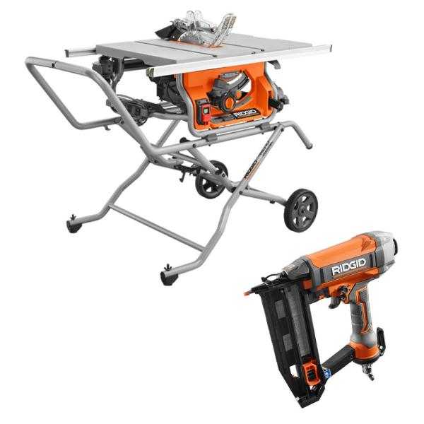 10 in. Pro Jobsite Table Saw with Stand and 16-Gauge 2-1/2 in. Straight Finish Nailer