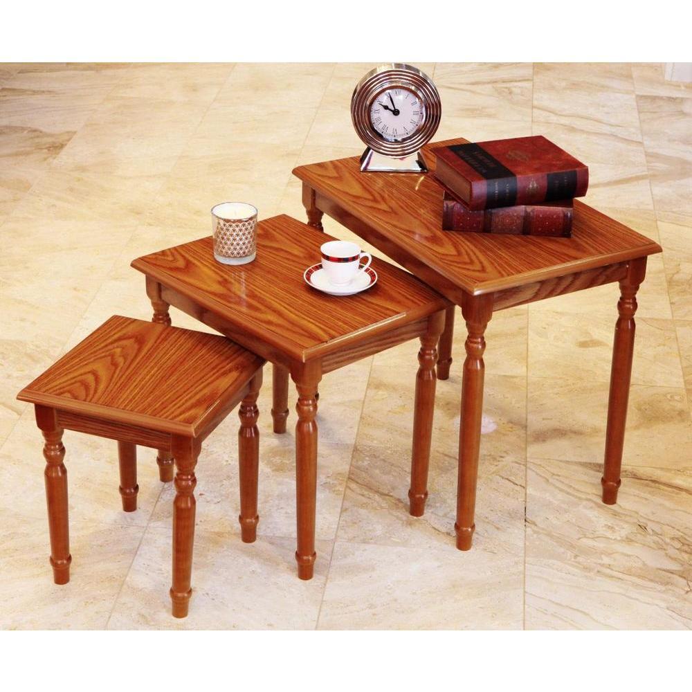 Oak 3-Piece Nesting End Table