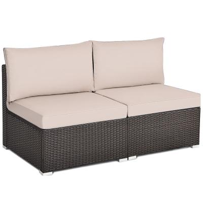 Brown 2-Piece Wicker Outdoor Sectional Rattan Armless Sofa with Beige Cushions