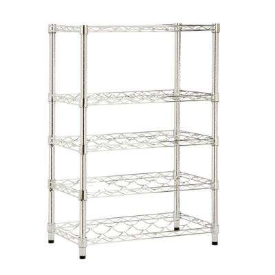 35 in. H x 24 in. W x 14 in D. 4-Tier Steel Wine Rack in Chrome
