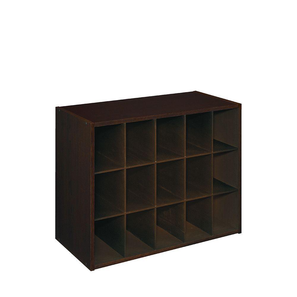 19 in. H x 24 in. W x 12 in. D Espresso Wood Look 15-Cube Storage Organizer