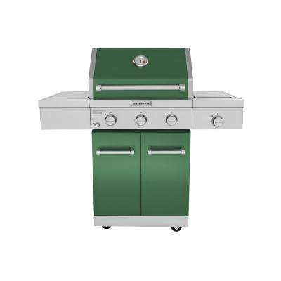 3-Burner Propane Gas Grill in Green with Ceramic Sear Side Burner