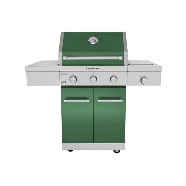 KitchenAid 3-Burner Propane Gas Grill in Green with Ceramic Sear Side Burner