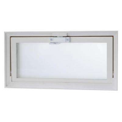 Hopper Vent Window with Screen & Dual Glass - White