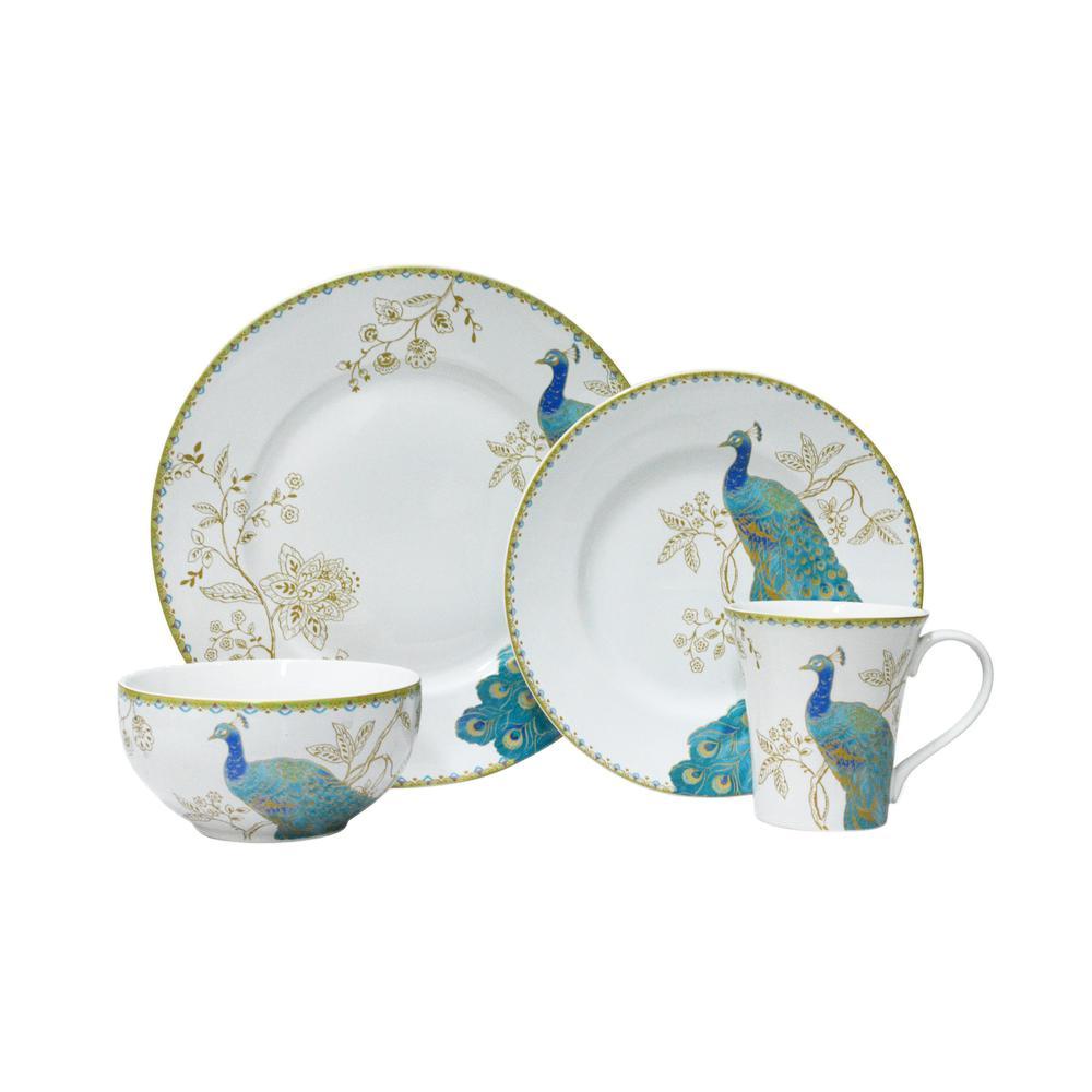 222 Fifth Peacock Garden Dinnerware Set (16-Piece)-1027WH801A1B71 ...