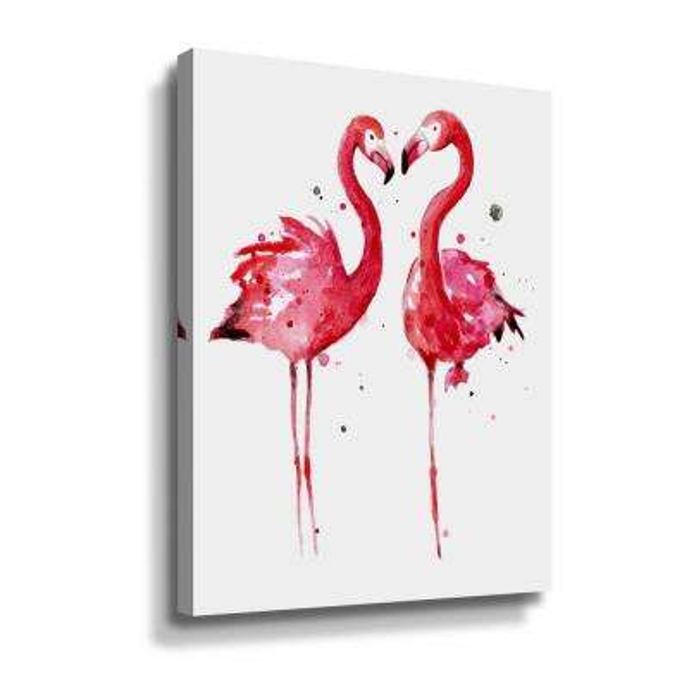 'Pink Flamingos' by  Sam nagel Canvas Wall Art