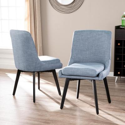 Selby Denim Blue Gray And Black Swivel Accent Chairs (Set of 2)
