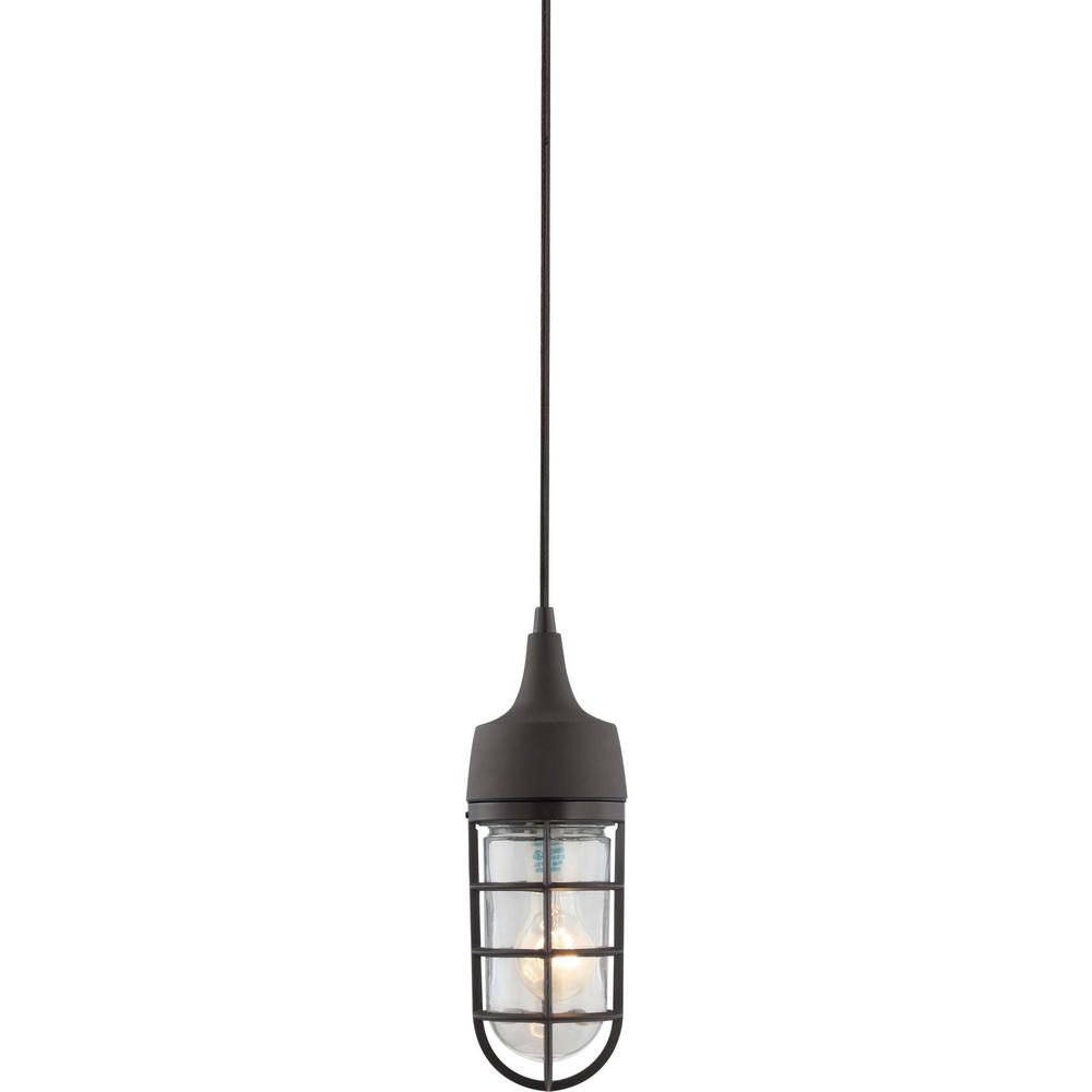 Volume Lighting 1 Light Indoor Or Outdoor Antique Bronze Aluminum Mini Hanging Pendant With Clear Gl Rounded Cylindrical Shade