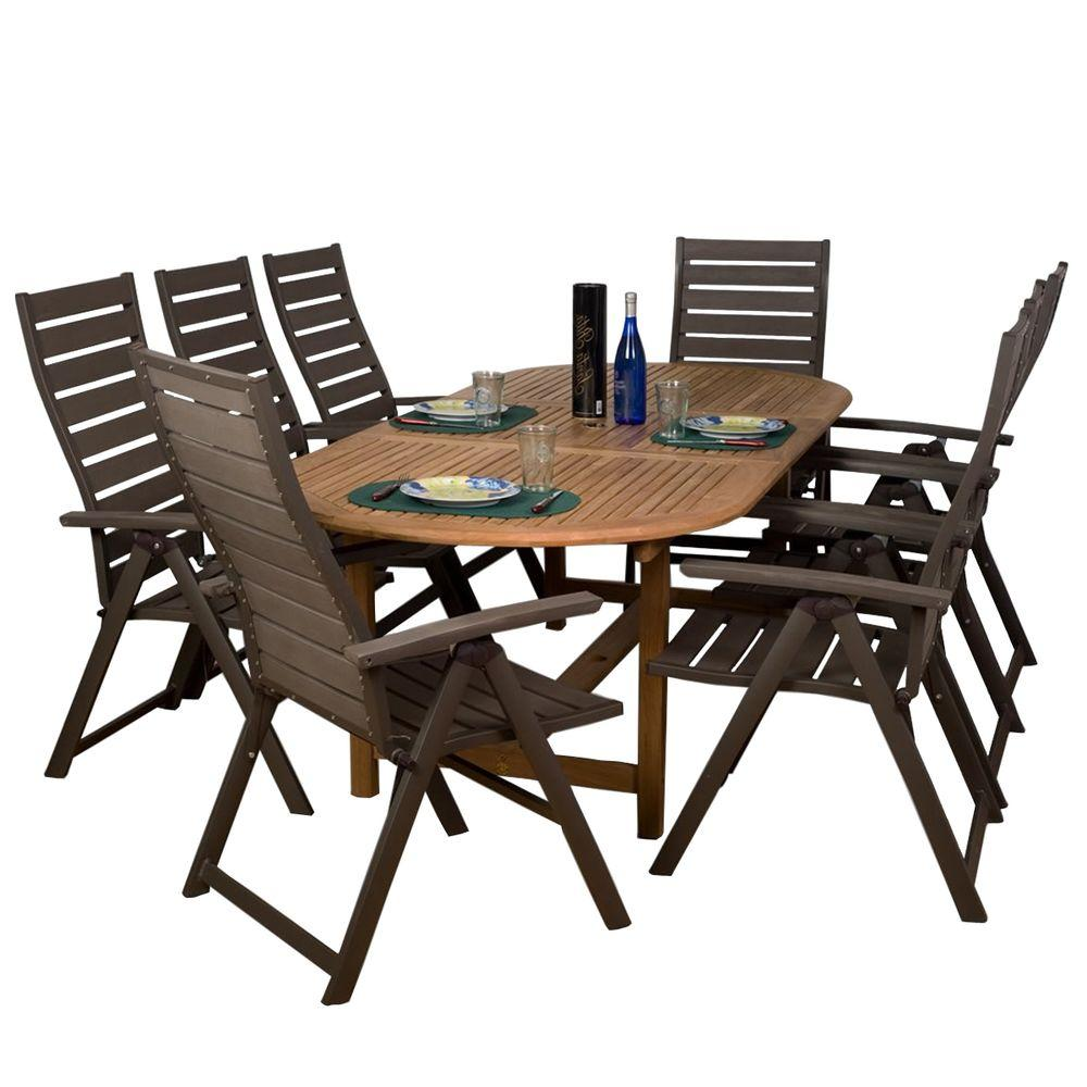 Amazonia San Marino 9-Piece Teak/Faux Wood Patio Dining Set-DISCONTINUED