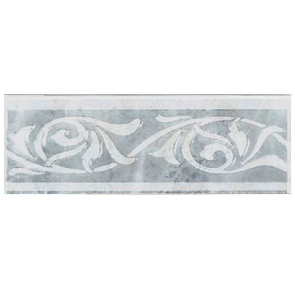 Merola Tile Joya Gris 3 in. x 8 in. Ceramic Listello Trim Tile-DISCONTINUED