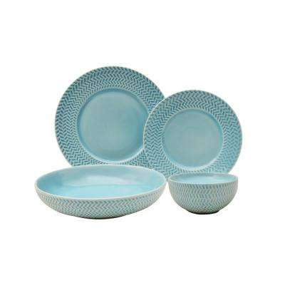 Tweed Ridge 16-Piece Aqua Dinnerware Set