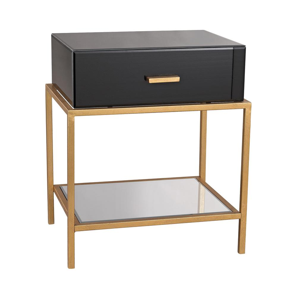 An Lighting Evans Black And Gold Leaf Storage Side Table